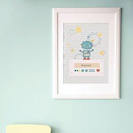 Affiche Déco Bébé Petit Robot pas cher