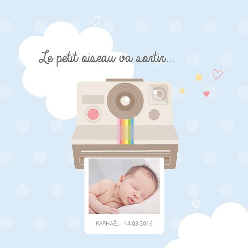 Faire-part de Naissance Polaroid pas cher