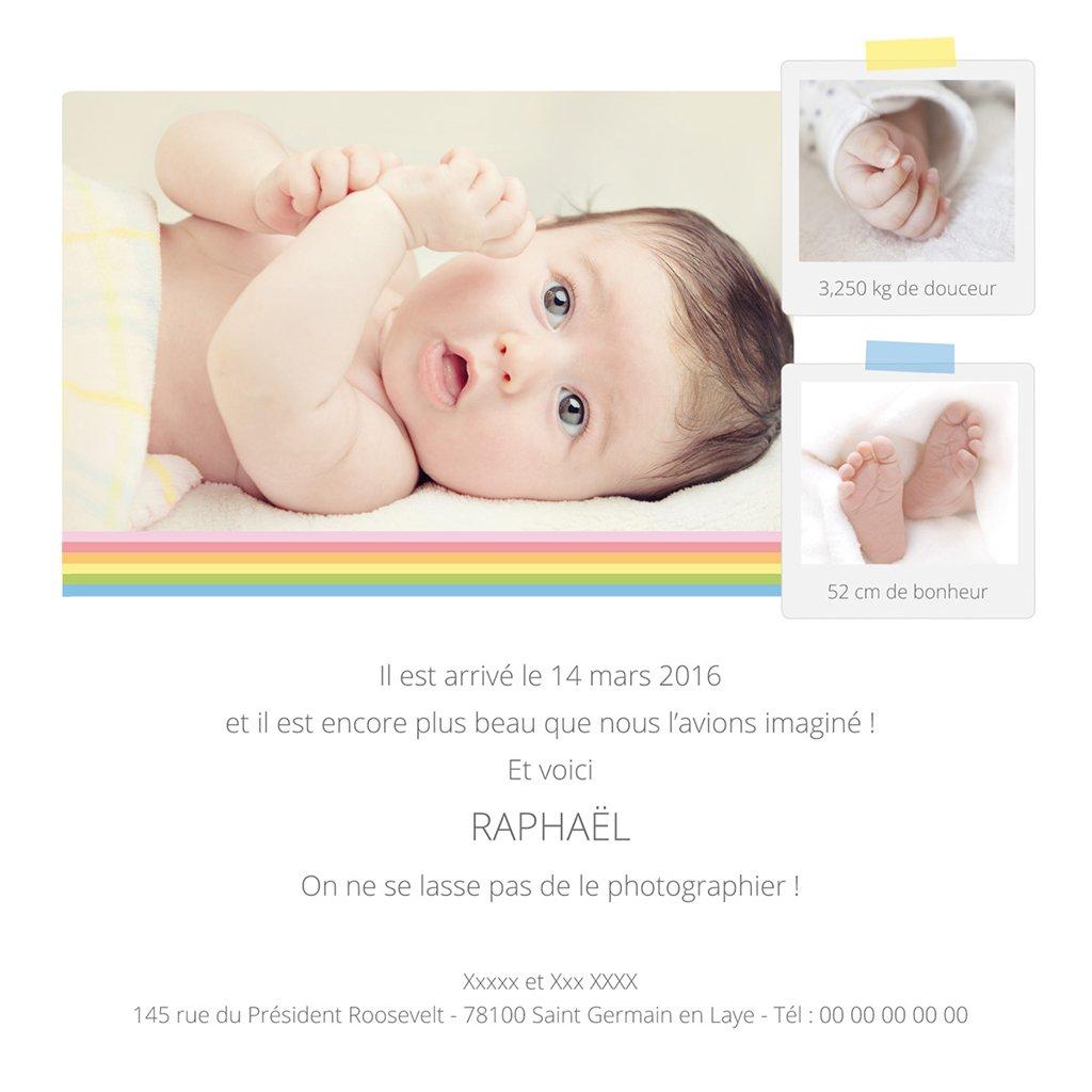 Faire-part de Naissance Polaroid gratuit