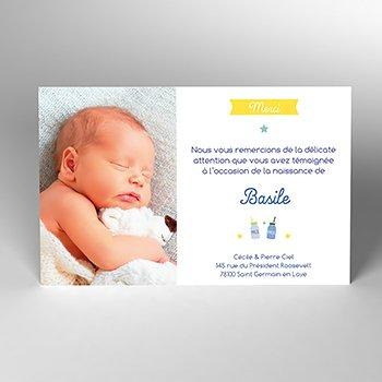 Carte de Remerciement Naissance Milk personnalisé