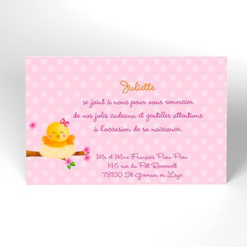 Carte de Remerciement Naissance Piou-piou rose pas cher