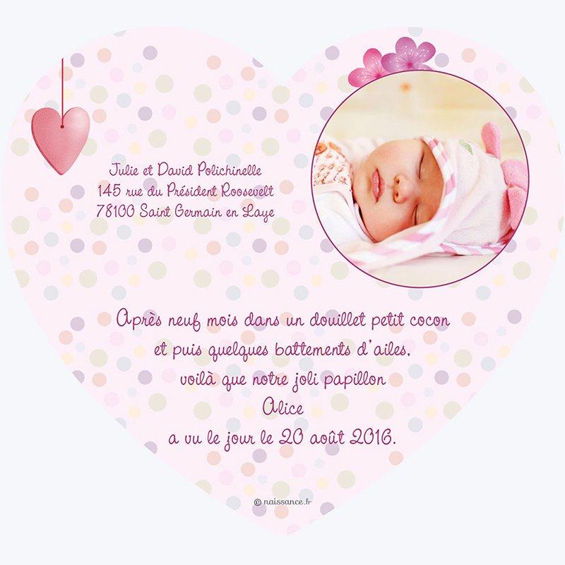 Faire-part de Naissance Cocoon rose gratuit