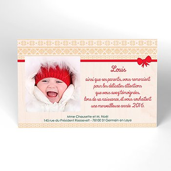 Carte de Remerciement Naissance Chaussette de Noël personnalisé
