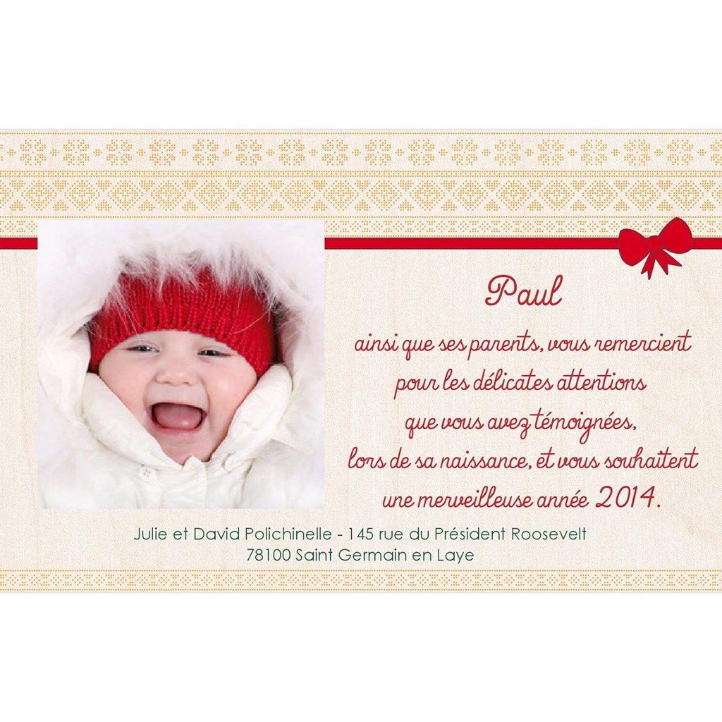 Carte de Remerciement Naissance Chaussette de Noël pas cher