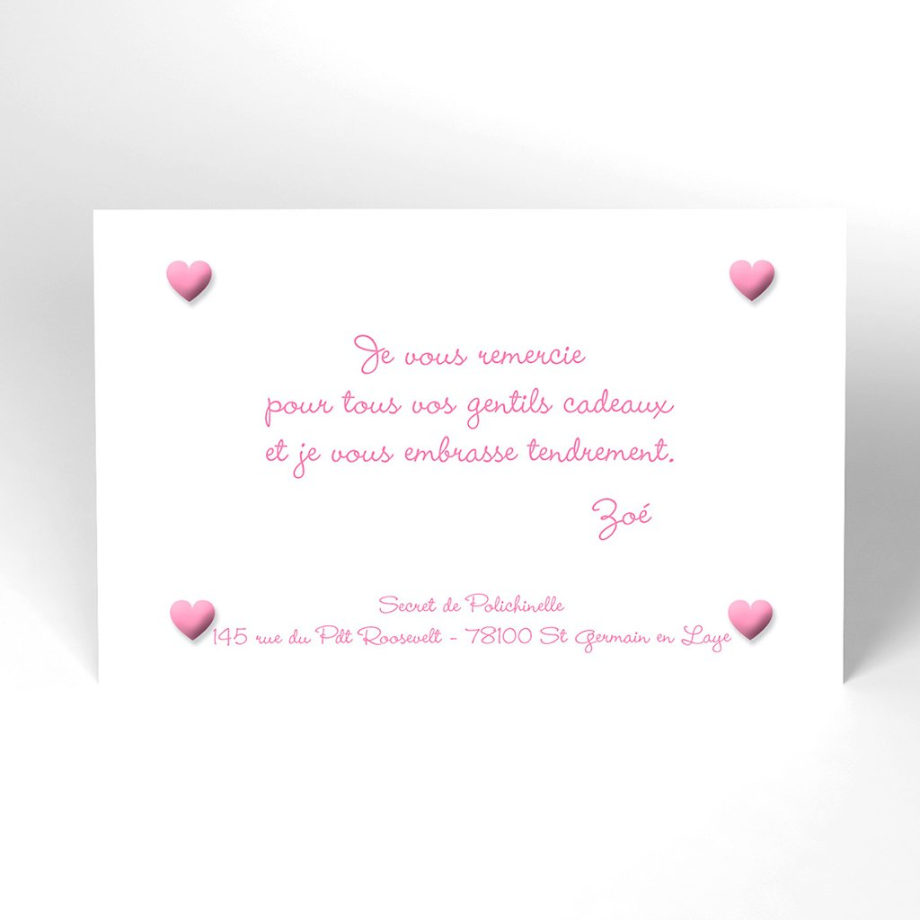 Carte de Remerciement Naissance Pictos rose