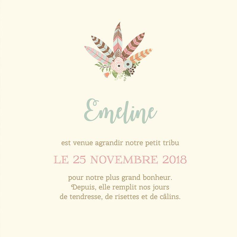 Faire-part de Naissance Bohème Fille