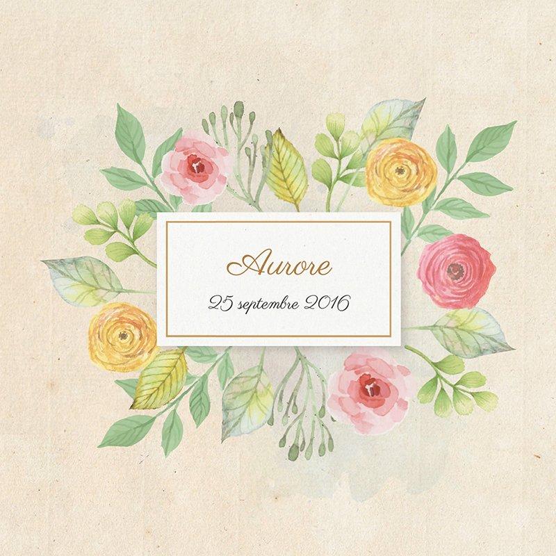 Faire-part de Naissance Fleurs Vintage pas cher