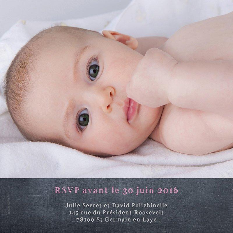 Faire-part de Baptême Ardoise Baptême fille gratuit