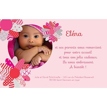 Carte de Remerciement Naissance Coeur de Fleur original