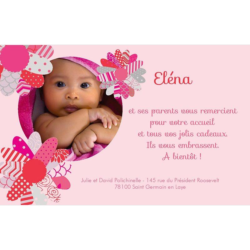 Carte de Remerciement Naissance Coeur de Fleur