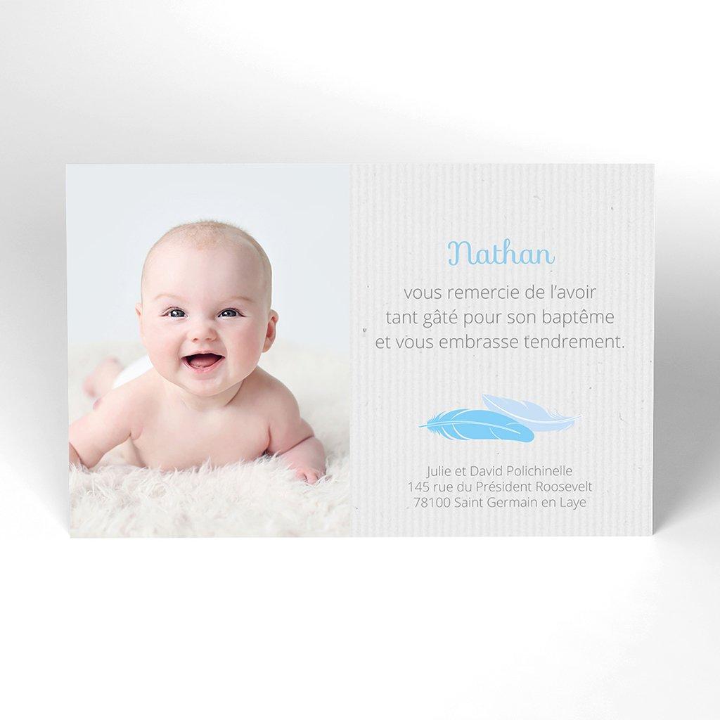 Carte de Remerciement Baptême Plume Simple Baptême