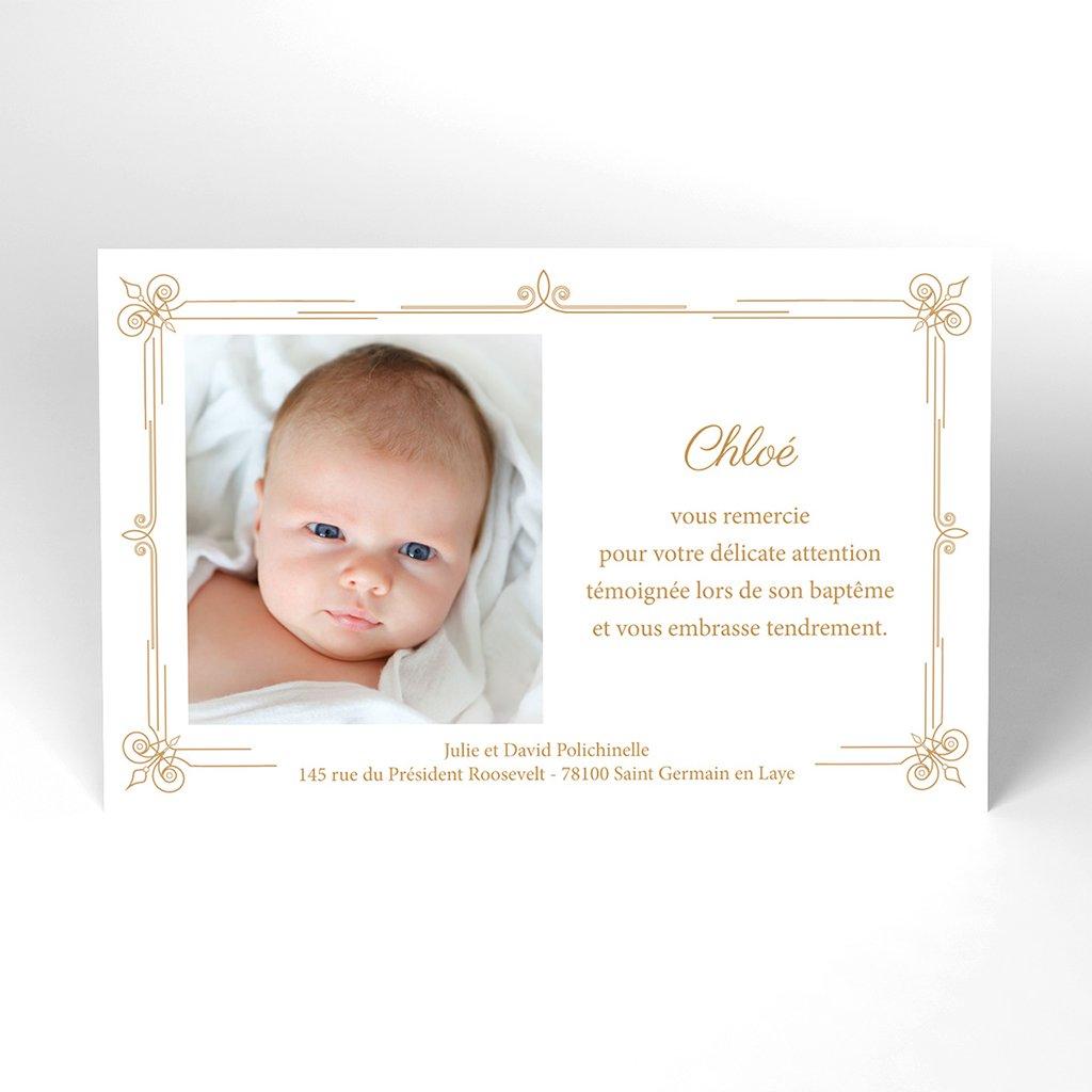Carte de Remerciement Baptême Simple et Chic Doré Baptême