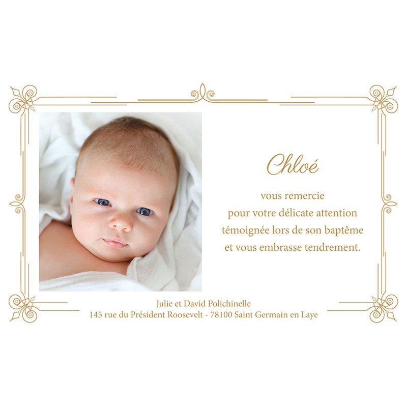 Carte de Remerciement Baptême Simple et Chic Doré Baptême pas cher