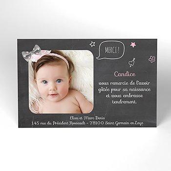 Carte de Remerciement Naissance Noeud fille original