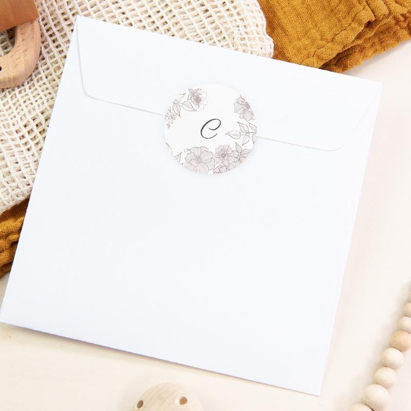 Sticker Enveloppe Naissance Elégance, initiale bébé pas cher