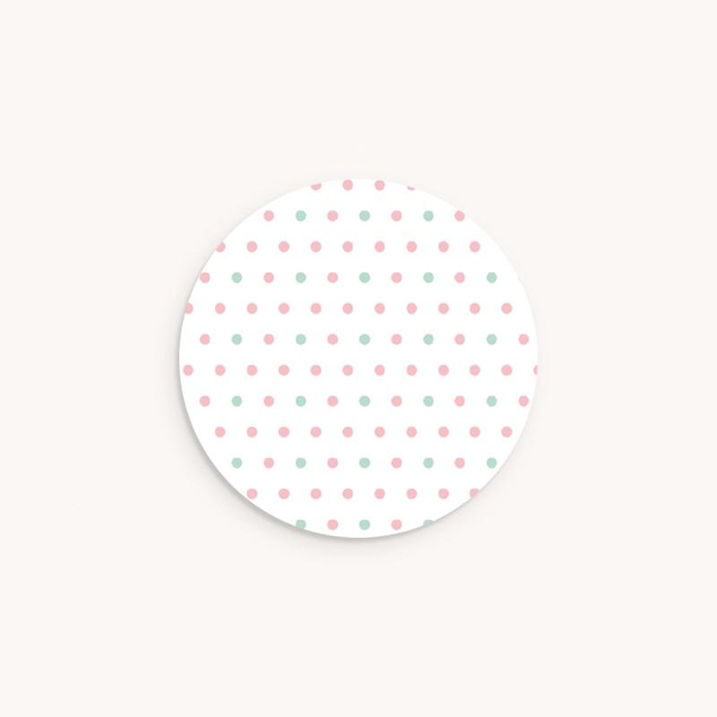 Sticker Enveloppe Naissance Motif pois verts et roses