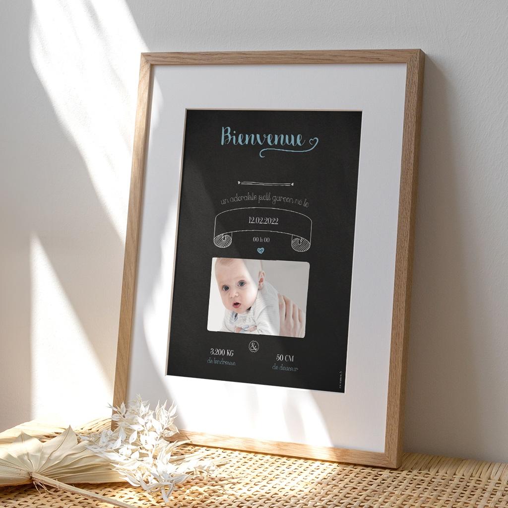 Affiche Déco Chambre Enfant Ardoise, Bienvenue bébé
