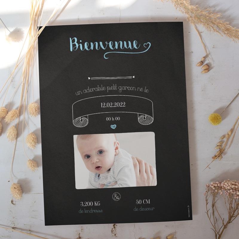 Affiche Déco Chambre Enfant Ardoise, Bienvenue bébé gratuit