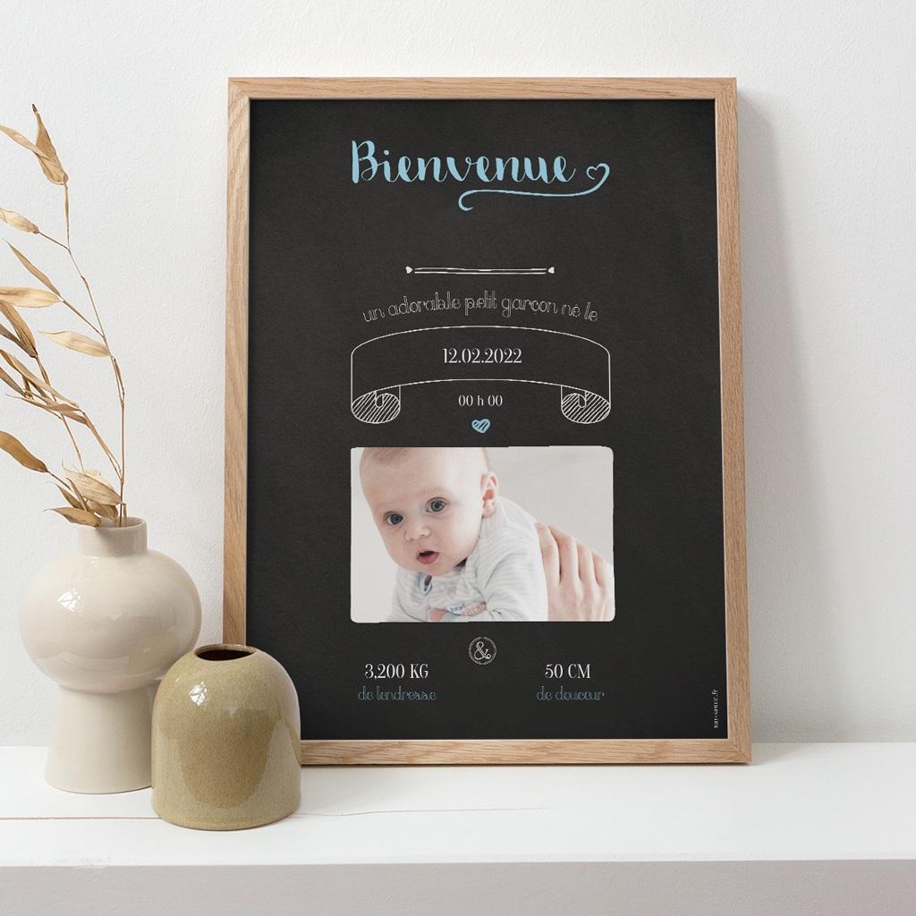Affiche Déco Chambre Enfant Ardoise, Bienvenue bébé pas cher