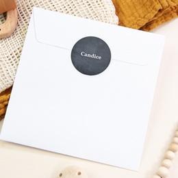 Sticker Enveloppe Naissance Ardoise Fille, Bienvenue bébé pas cher