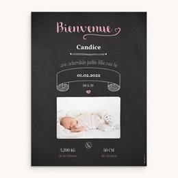 Affiche Déco Chambre Enfant Ardoise Fille, Bienvenue bébé