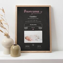 Affiche Déco Chambre Enfant Ardoise Fille, Bienvenue bébé pas cher