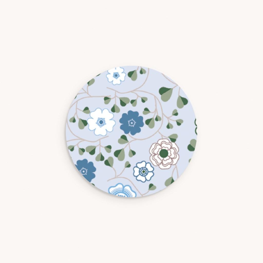 Sticker Enveloppe Naissance Liberty Bleu Garçon, Fleurs
