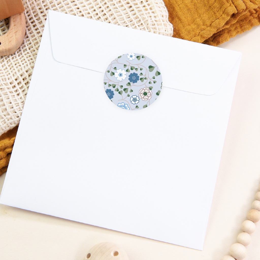 Sticker Enveloppe Naissance Liberty Bleu Garçon, Fleurs pas cher