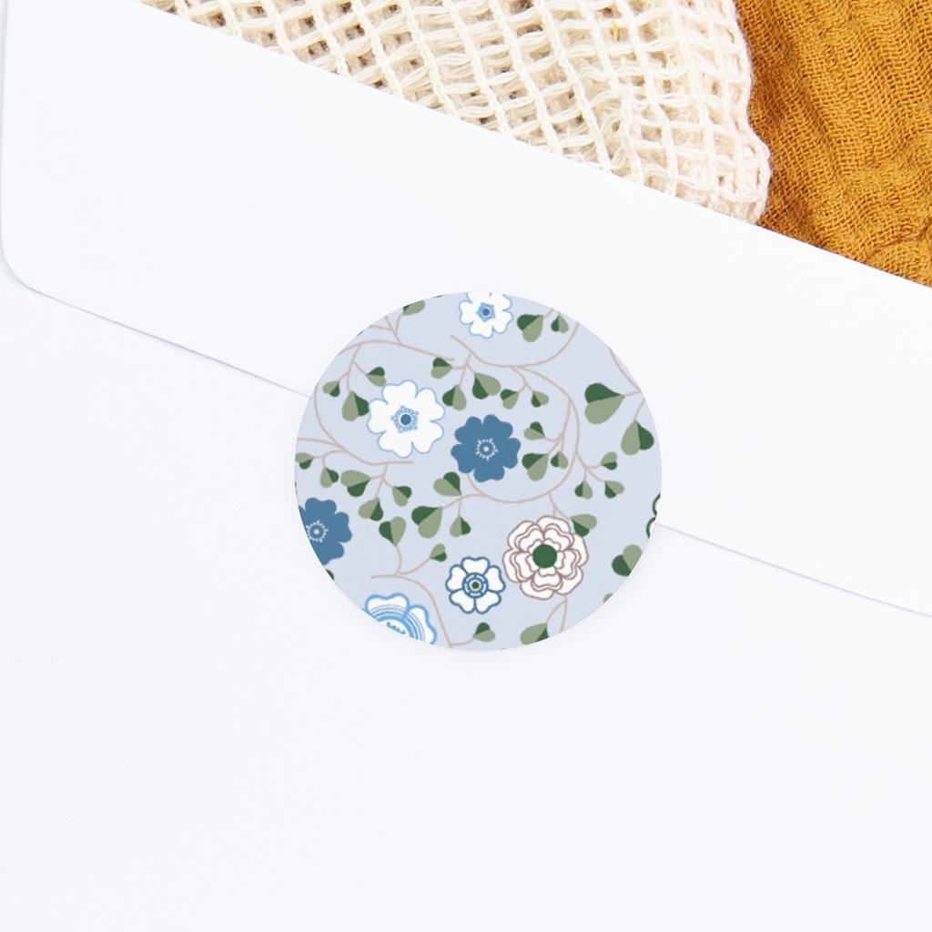 Sticker Enveloppe Naissance Liberty Bleu Garçon, Fleurs gratuit