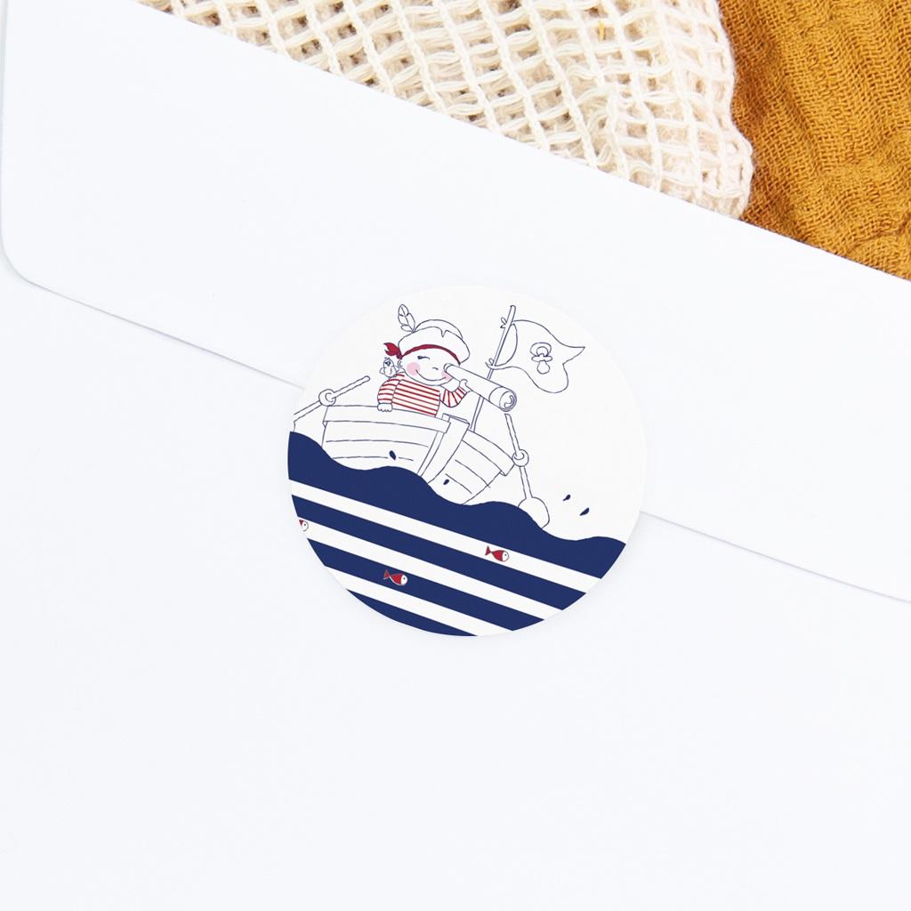 Sticker Enveloppe Naissance P'tit Pirate gratuit