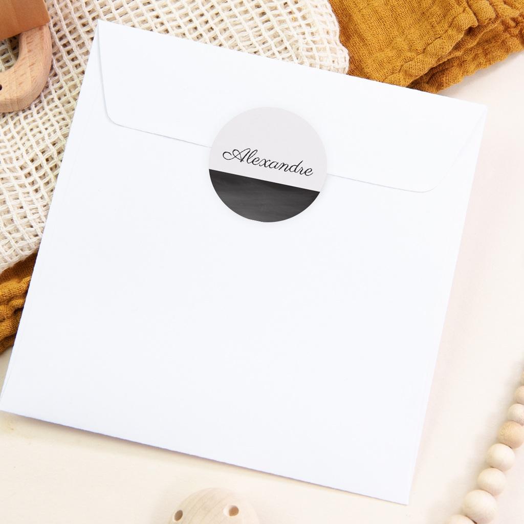 Sticker Enveloppe Naissance Mensurations Garçon, Ardoise pas cher