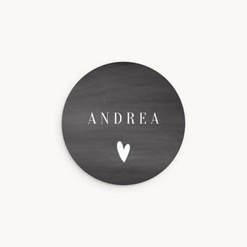 Sticker Enveloppe Naissance Ardoise, Coeur blanc personnalisé