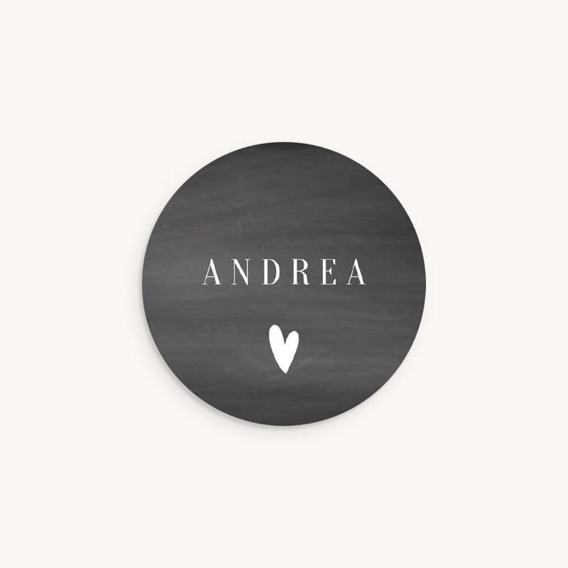 Sticker Enveloppe Naissance Ardoise, Coeur blanc