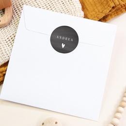 Sticker Enveloppe Naissance Ardoise, Coeur blanc pas cher