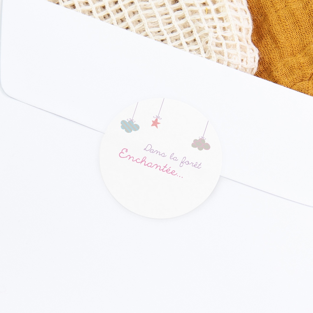 Sticker Enveloppe Naissance Forêt Enchantée, 4,5 cm gratuit