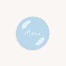 Sticker Enveloppe Naissance Douces plumes bleu pastel