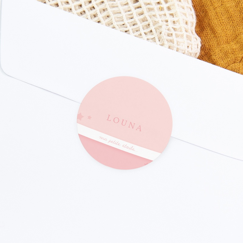 Sticker Enveloppe Naissance Tendresse rose pastel gratuit