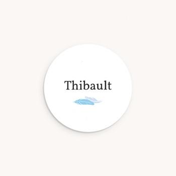 Sticker Enveloppe Naissance Plumes Bleues, prénom pas cher