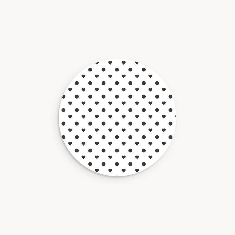 Sticker Enveloppe Naissance Polka coeurs et pois