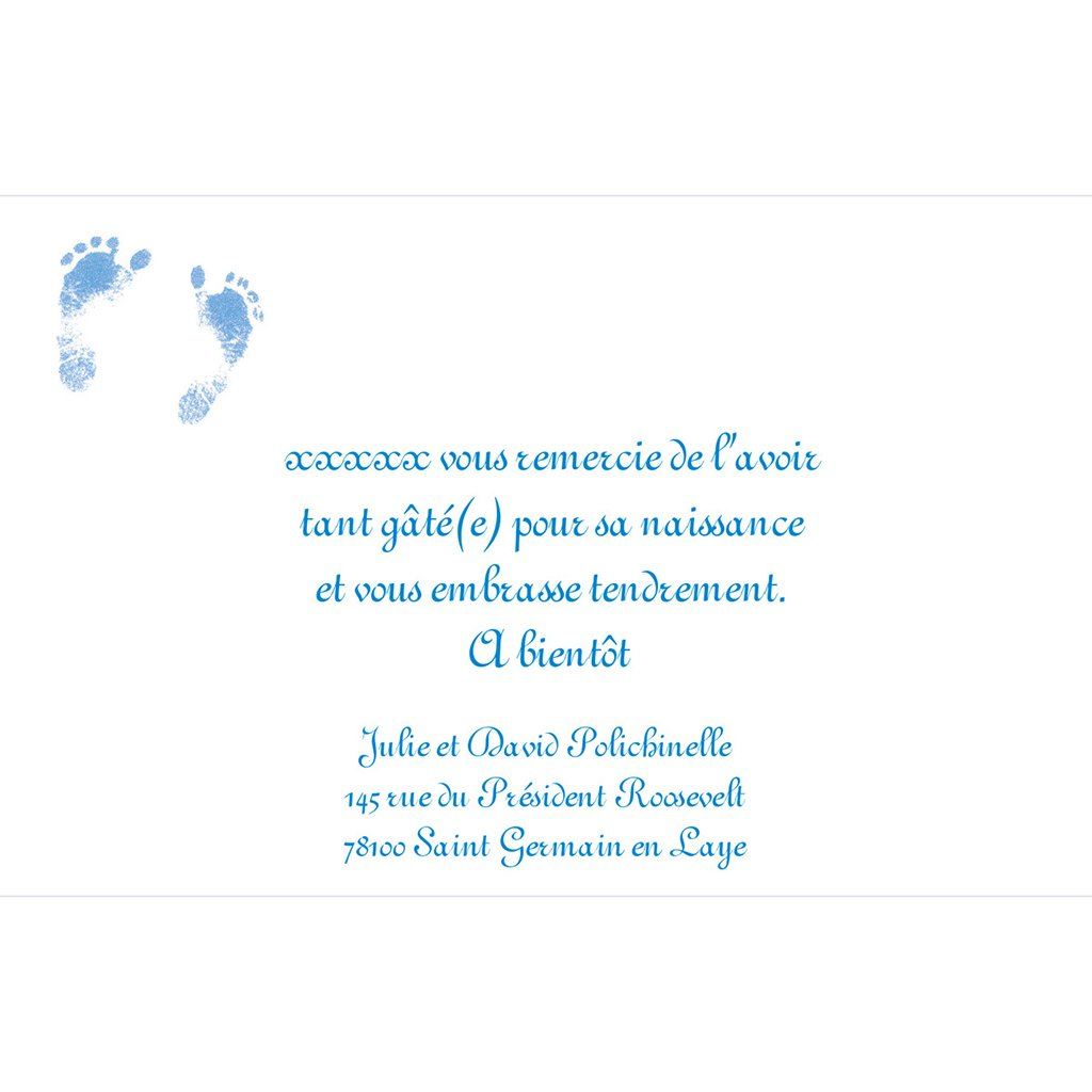 Carte de Remerciement Naissance Bleuet pas cher