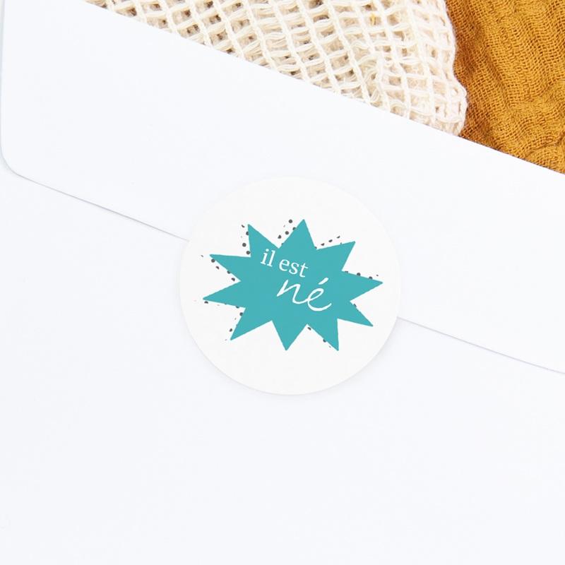 Sticker Enveloppe Naissance Super-héros, bleu gratuit