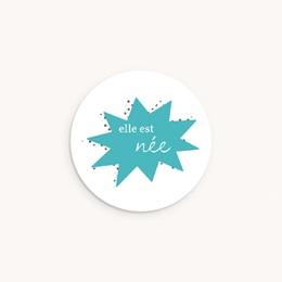 Sticker Enveloppe Naissance Super-héroïne, bleu
