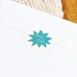 Sticker Enveloppe Naissance Super-héroïne, bleu gratuit