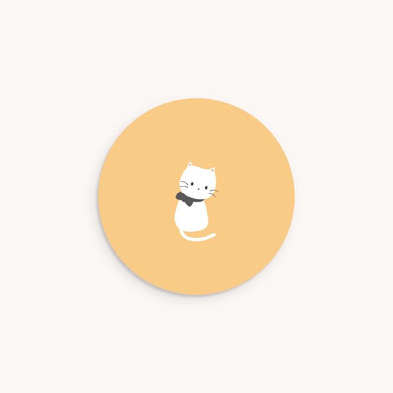 Sticker Enveloppe Naissance Chaton jaune, 4,5 cm