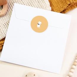 Sticker Enveloppe Naissance Chaton jaune, 4,5 cm pas cher