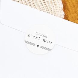 Sticker Enveloppe Naissance Smile, Coeur et traits gratuit