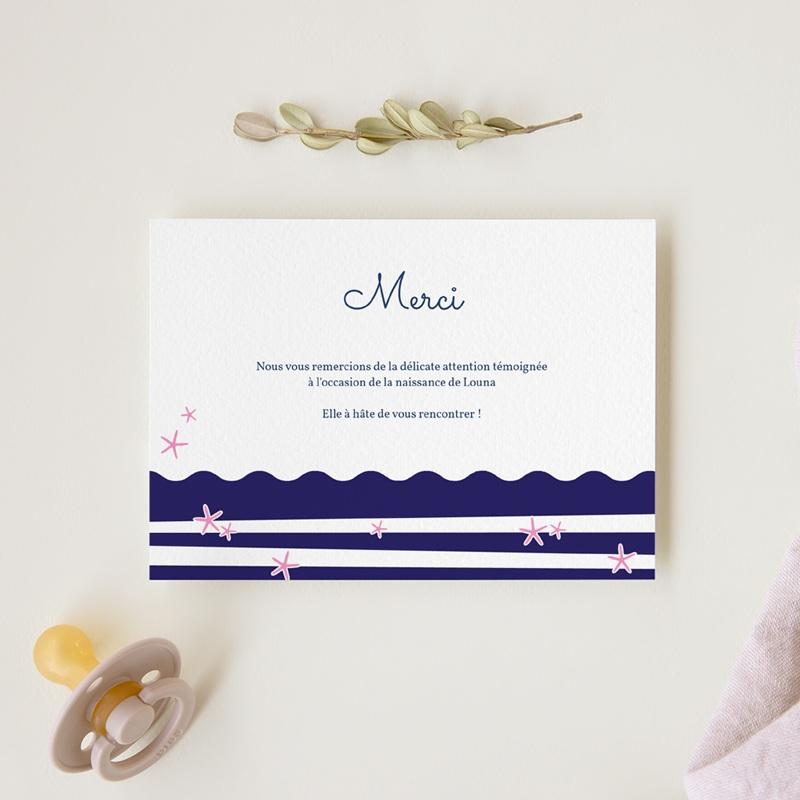 Carte de Remerciement Naissance Rose Marine gratuit