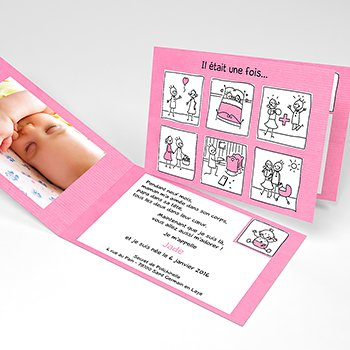 Faire-part de Naissance Love Story rose original