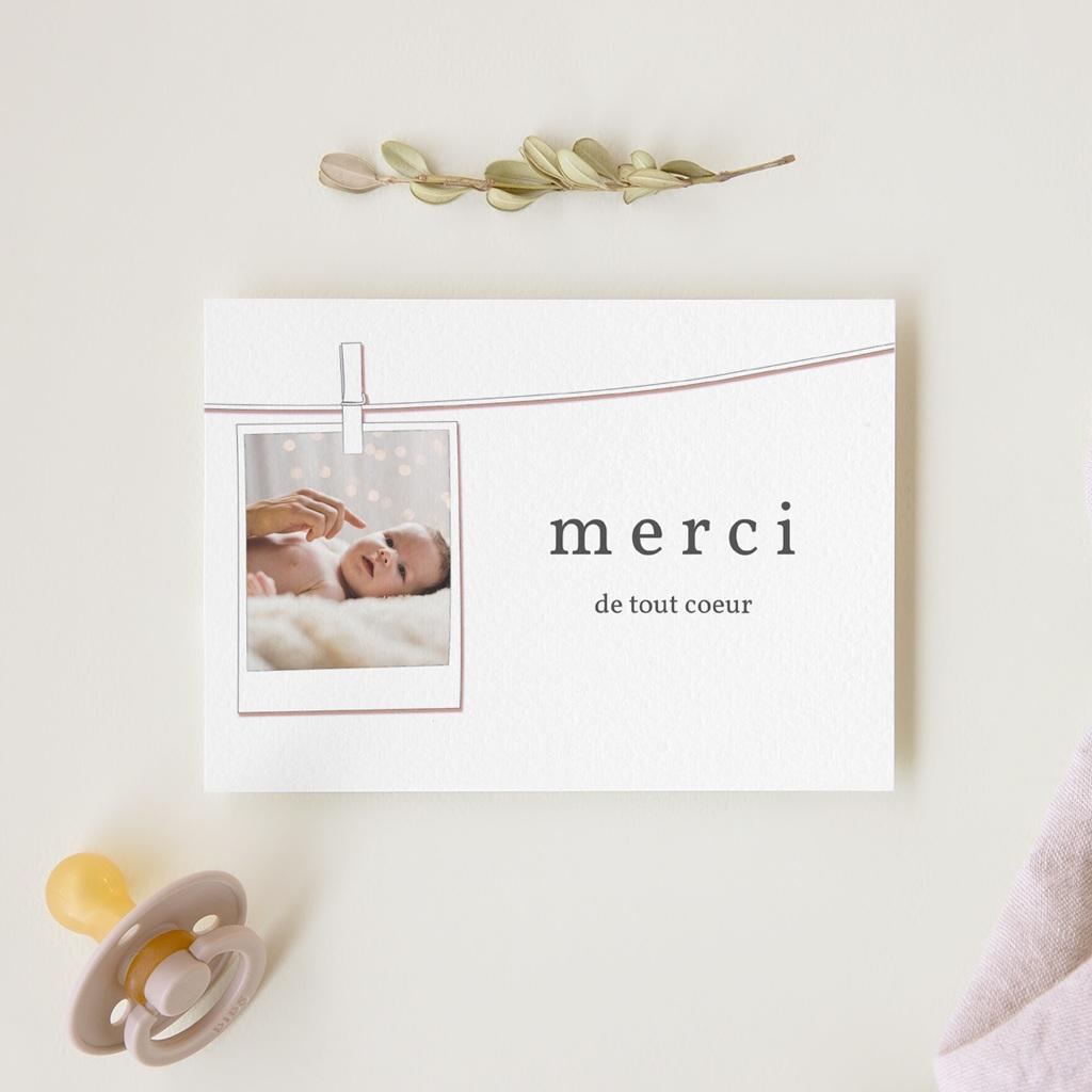 Carte de Remerciement Naissance Instantané fille gratuit