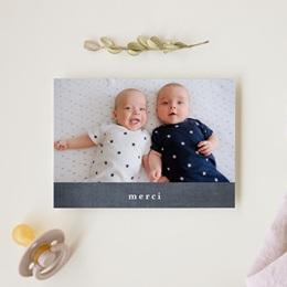 Carte de Remerciement Naissance Ardoise Jumeaux gratuit